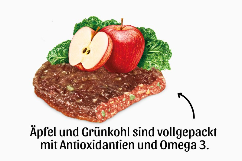 Kaninchenhamburger mit Apfel und Grünkohl