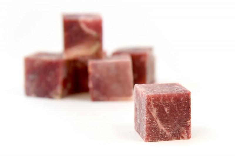 BARF Rindermuskelfleisch gewürfelt (fein gewolft)